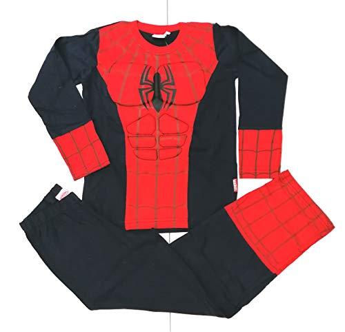 Pigiama Spider-Man Uomo Ragno con Muscoli Bambino,Costume Carnevale (Blu Royal) (5/6 Anni)