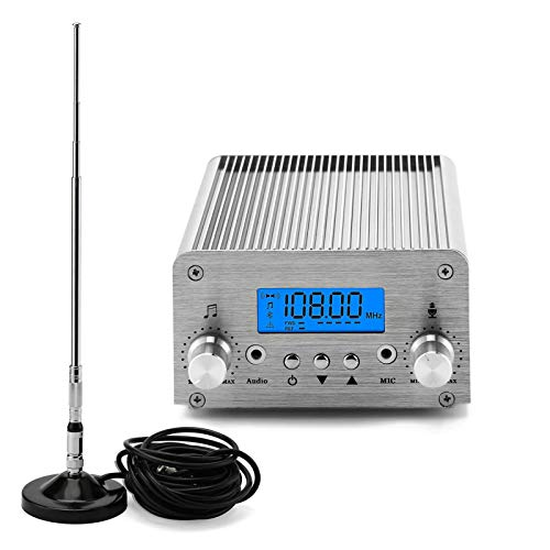 FM Broadcast Transmitter, Elikliv 6W LCD PLL Wireless Radio Stereo Broadcast Range 76~108MHz FM Transmitter for Church,Car Theater,Radio Station,Supermarket
