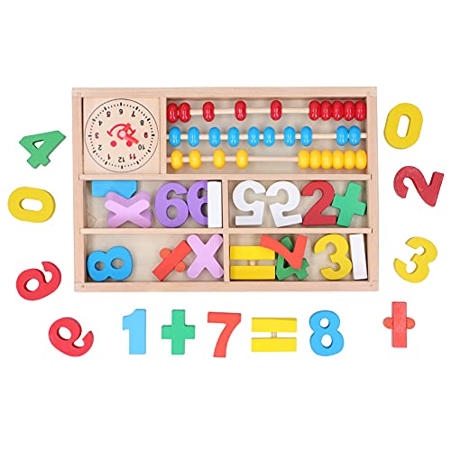 Atyhao Juego de Tablero de Rompecabezas de Bloques de números, Rompecabezas de números de Madera, Juguetes Montessori de clasificación, educación Preescolar, Bloque de apilamiento de matemáticas