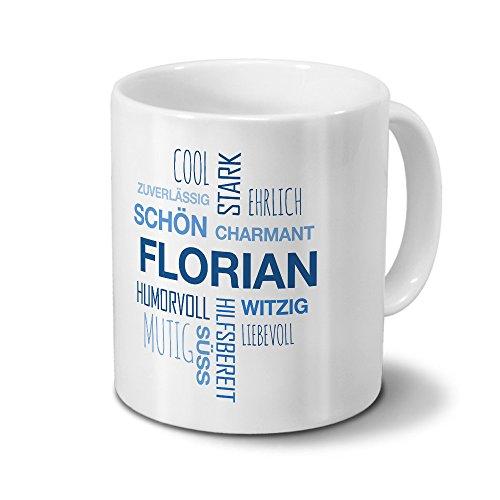 printplanet Tasse mit Namen Florian Positive Eigenschaften Tagcloud - Blau - Namenstasse, Kaffeebecher, Mug, Becher, Kaffeetasse