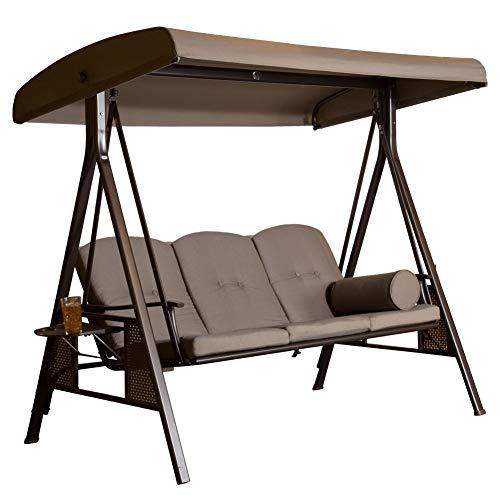 SORARA Luxus 3-sitzer Hollywoodschaukel | Braun | extra stabile Ausführung | Gartenschaukel Gartenliege Schaukelbank Gartenmöbel