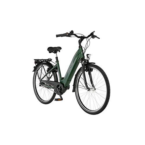 FISCHER E-Bike City CITA 4.1i, Elektrofahrrad, grün matt, 26 Zoll, RH 41 cm, Mittelmotor 65 Nm, 36 V Akku im Rahmen