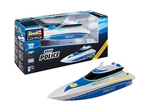 Revell Control 24138 RC Polizeiboot, mit wasserdichter Elektronik und integriertem LI-Ion-Akku Ferngesteuertes Boot, weiß/blau