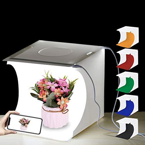 PULUZ Photo Studio Light Box leggero 20 x 20 x 20 cm LED Mini Light Tenda da tavolo 2 x 3,5 W Photo Studio Tenda con 3 sfondi rimovibili Nero, Bianco, Arancione, Rosso, Verde, Blu