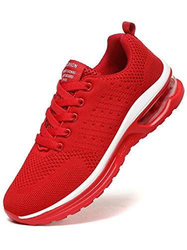 JIANKE Laufschuhe Damen Luftkissen Sportschuhe Leichte Atmungsaktiv Turnschuhe Fitness Gym Sneaker Straßenlaufschuhe Rot, 38.5 EU