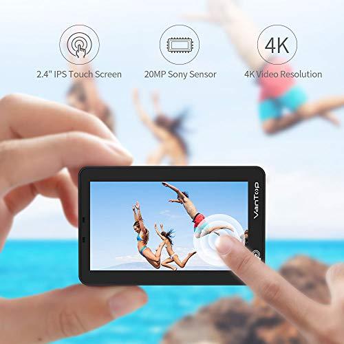 VanTop 4K Action Cam mit Touchscreen, 20MP WiFi Ultra HD wasserdichte Action Kamera, 30m Unterwasserkamera, mit 32 GB TF Karte, 2 Batterien und Zubehör kits - 2