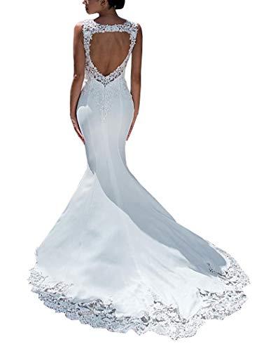 CGown Damen Illusion Ausschnitt Schlüsselloch Meerjungfrau Brautkleid Schleppe Satin Spitze Pailletten Kristalle Ballkleid Hochzeitskleid
