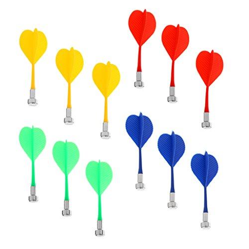 Sharplace Ersatzpfeile magnetisch, 12 Stück - Blau Gelb Rot Grün