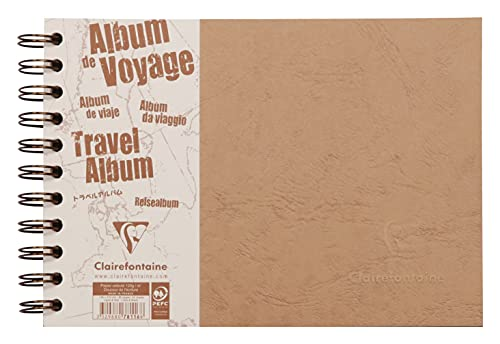 Clairefontaine 78116C - Un album de voyage à spirale Age Bag 80 pages 21x14,8 cm format Paysage (40 pages lignées blanches 120g et 40 pages en papier à grain noir 160g), couverture grain cuir, Tabac