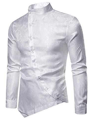 WHATLEES Herren Urban asymmetrisches Paisley Satin-Hemd, 02010201xwhite, S