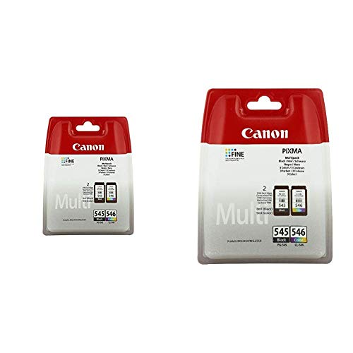 Canon PG-545+CL-546 Cartucho Multipack de tinta original Negro y Tricolor para Impresora + PG-545+CL-546 Cartucho Multipack de tinta original Negro y