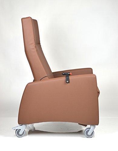 DEVITA - Pflegesessel LUTRA Relax mit Rollen und Verstellbarer Rückenlehne, Fernsehsessel, Seniorensessel, Relaxsessel bis 120 kg - mit Netzstecker und Akku - Mocca Hygiene-Leder