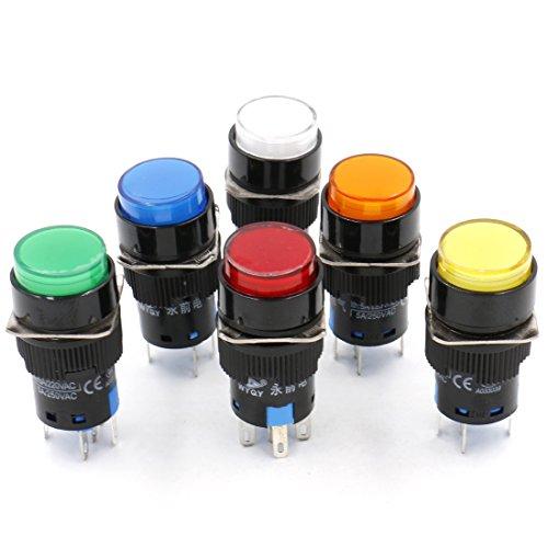 Heschen runder Federschalter, 16 mm, Druckschalter, 1 NO 1 NC, weiß, rot, orange, blau, grün, gelb, 12 V LED