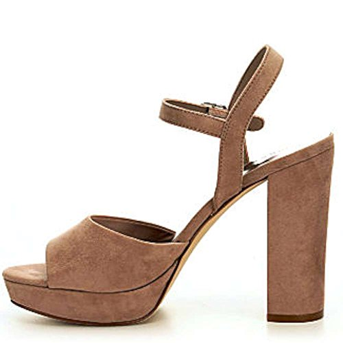 Price comparison product image Madden Girl Womens Shaarp Fabric Open Toe Casual,  Taupe Fabric,  Size 7.5