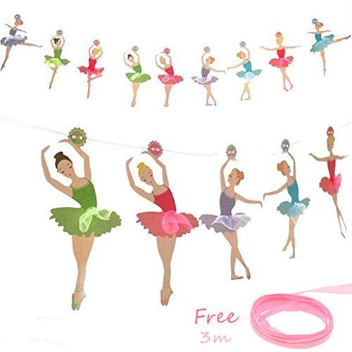 Tumao 3.5 m Banners Chicas Ballet, Guirnaldas del Papel Bandera para Decoración de Fiesta Cumpleaños Boda Bailarina Temática