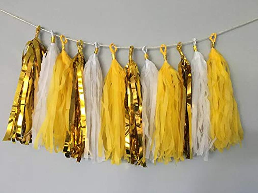 HappyField Yellow White Gold Tissue Paper Tassel Garland You are My Sunshine Birthday Party Decorations Bridal Shower Baby Shower Decor Wedding Party Decorations Bachelorette Table Centerpiece Decor