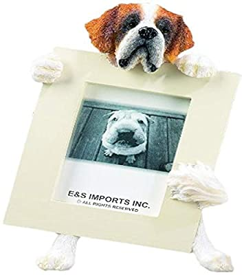 Saint Bernard Picture Frame Holds Your Favorite 2.5 by 3.5 Inch Photo, Hand Painted Realistic Looking Saint Bernard Stands 6 Inches Tall Holding Beautifully Crafted Frame, Unique and Special Saint Bernard Gifts for Saint Bernard Owners by E&S Imports, Inc