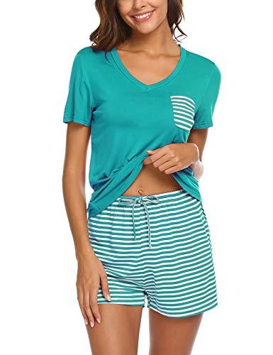 Unibelle Damen Pyjama Schlafanzug Kurz Sommer Nachtwäsche Hausanzug Kurzarm, A_dunkelgrün, L
