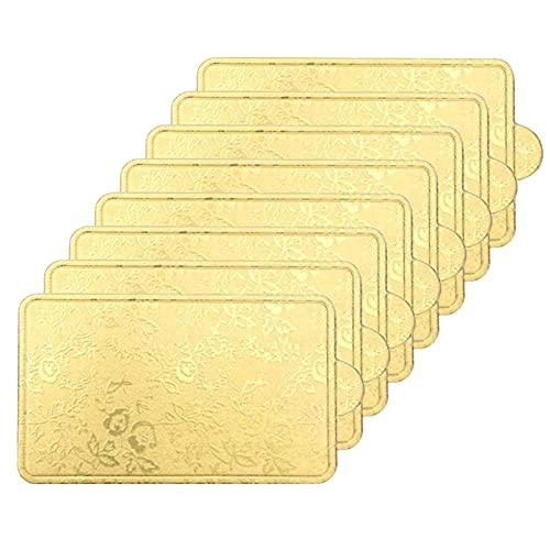 Saicowordist Juego de 100 tablas de pasteles, soporte inferior de junta de relieve dorado, triángulo redondo rectangular con forma cuadrada para pasteles y postres para hornear (gran rectángulo)