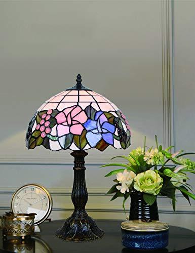 Luz de cabecera de la lámpara de mesa floral de sobremesa con diseño de vitral de estilo...