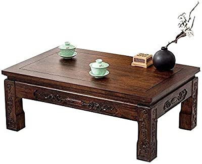 Coffee Table Living Room Coffee Table, Solid Wood Furniture Small Coffee Table Coffee Table Platform Windows and Solid Wood, Hand-Polished Small Coffee Tables (Color : Black, Size : 30 * 45 * 70cm)