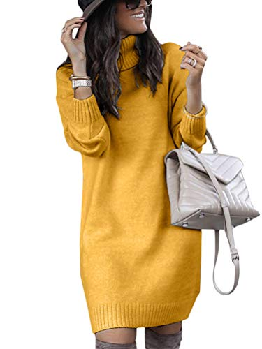 Minetom Mujeres de Punto Vestido Cuello Alto Manga Larga Mini Dress Color Sólido Otoño Invierno Suéter Largo Amarillo 42