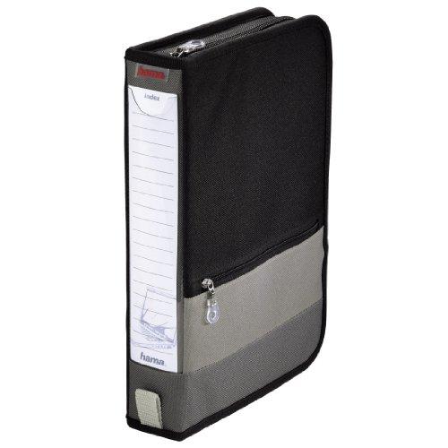 Hama CD Aufbewahrung Tasche (Office Wallet für 64 CDs, DVDs, Blu-Rays) Mappe schwarz grau