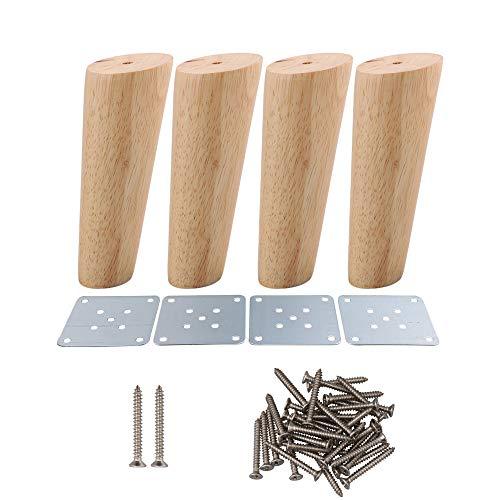 RDEXP Juego de 4 patas de madera de roble de 15 cm de altura fiables con placa de hierro para sofá, mesa y armario de mesa