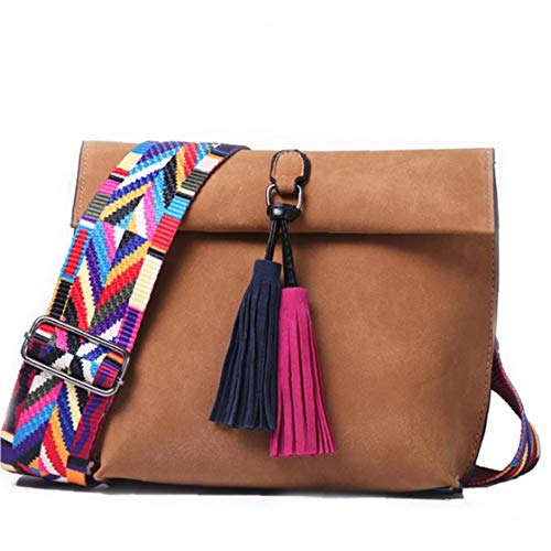 1pc Tassel Crossbody Bag Pu Leather Colorful Wide Strap Satchel Chic Vintage Style Sling Bag Casual Shoulder Bag for Women Girls(chocolate)