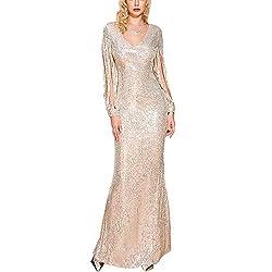 V Neck Long Fringe Sleeve Gold Sequin Bodycon Dress