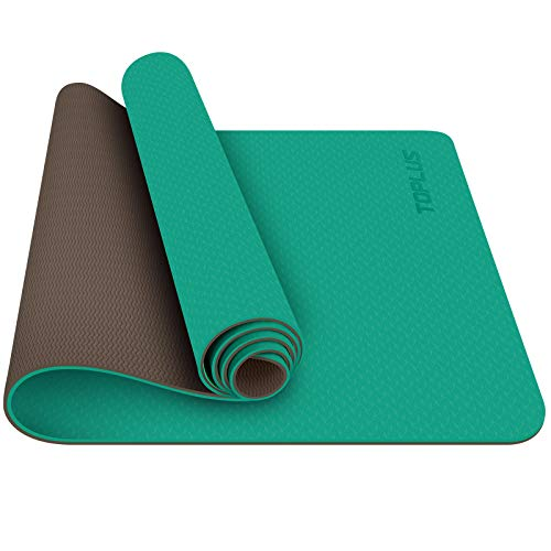 TOPLUS Yoga Mat, 1/4 inch Pro Yoga Mat TPE Eco Friendly Non Slip Fitness Exercise Mat with Carrying Strap-Workout Mat for Yoga, Pilates and Floor Exercises (Green)