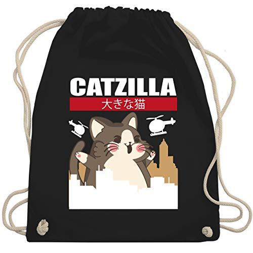 Shirtracer Anime - Catzilla - Big Cat- weiß/rot - Unisize - Schwarz - Statement - WM110 - Turnbeutel und Stoffbeutel aus Baumwolle