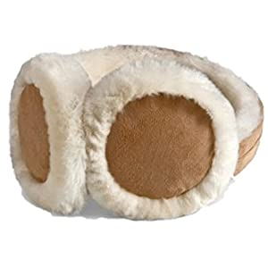 HEAD Woman's Ear Warmers Earmuffs with Genuine Shearling Sheepskin One Size Fits All Tan