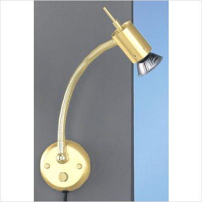 Wandleuchte mit langem Flexarm, 1er Spot mit Schalter und Steckerzuleitung, goldfarbig matt