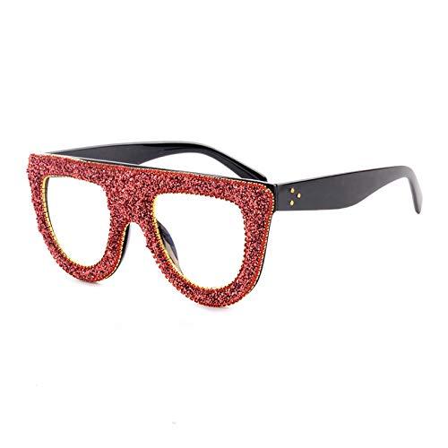 HAOMAO Gafas de Sol de Ojo de Gato con gradiente de Cristal Superior Plano Transparente Liso Rojo Plateado para Mujer 4