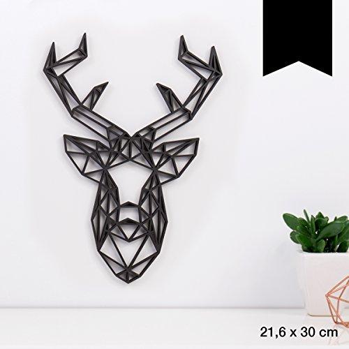 KLEINLAUT 3D-Origamis aus Holz - Wähle EIN Motiv & Farbe - Hirschkopf - 21,6 x 30 cm (L) - Schwarz