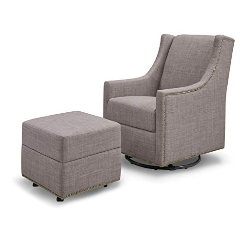 Million Dollar Baby Classic Harper Swivel Glider with Gliding Ottoman in Grey Tweed, Greenguard Gold Certified