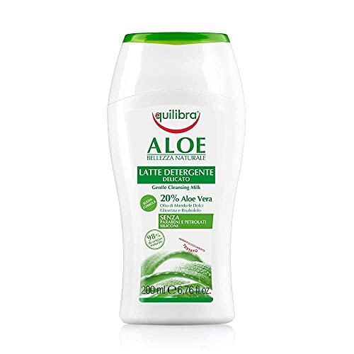 Equilibra Cuidado Facial, Leche Limpiadora Delicada a Base de Aloe Vera, Adecuada para Pieles Sensibles, Desmaquillante Facial, Hidratante, Calma y Equilibra la Piel, 200 ml