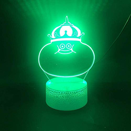 3D Illusion Lamp Led Night Light Cute King Slime Touch Sensor Atmosphere Decorative Child Holiday Gift Bedroom Bedside Clock Best Birthday Holiday Gifts for Children