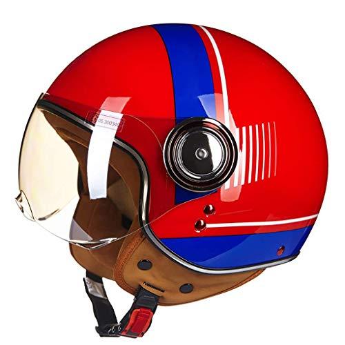 FFYN Casco Abierto para Motocicleta, Aprobado por el Dot, ciclomotor, Jet Bobber, piloto, Chopper, 3/4, Medio Casco con Visera para Hombres y Mujeres