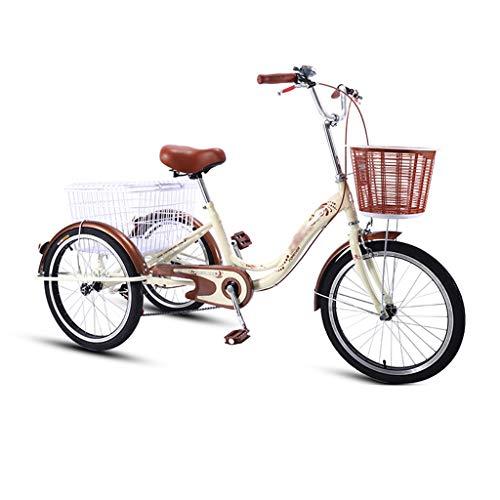 Triciclos Adultos 20 Pulgadas, Bicicletas De 3 Ruedas Seniors, Llanta De Aleación De Aluminio Y Freno Delantero V, Freno Trasero, Bicicletas De Tres Ruedas ( Color : Vintage yellow , Size : 20 Inch )