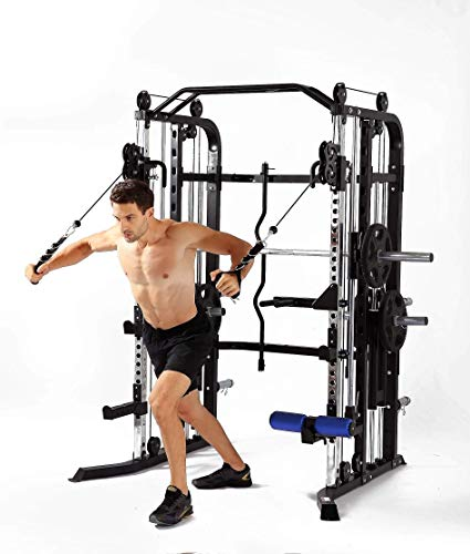 MiM USA Hercules 1001 Jumbo | Commercial Smith Maschine & Functional Trainer Power Cage Leg Press Dip Chin Arm Equip Hantelbank Beinverlängerung & komplettes Zubehör |, schwarz, X-Large