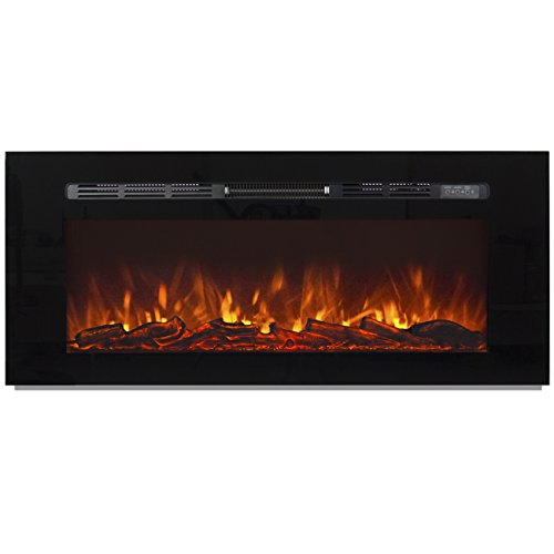 Best Choice Products 1500W 50in Heat Adjustable in-Wall Recessed Electric Fireplace Heater w/Remote Control
