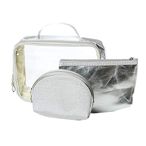 JOMSK Travel Makeup Case Portable Large Small Make-up Bag Cosmetic Case Toiletry Bag Vanity Case With Patterns Zipped Temperament Organiser Storage Pouch For Women Girl 3set (Color : Silver)