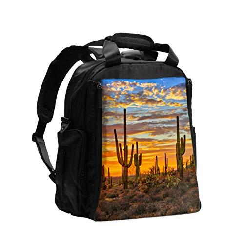 Reise-Wickeltasche Schöne Wüste im Sonnenuntergang Ausgefallene Wickeltasche Rucksack Multifunktions-Reiserucksack mit Windel-Wickelunterlage für die Babypflege