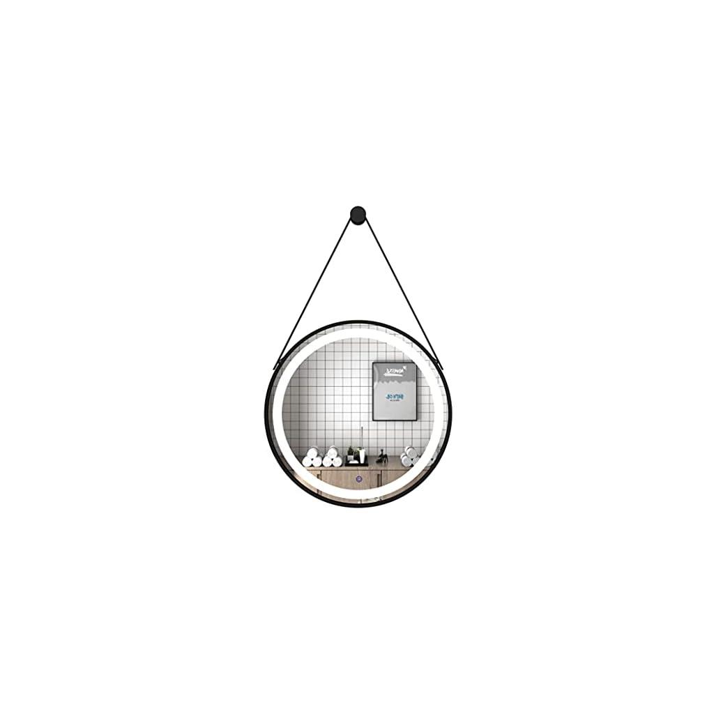 Miroir Suspendu Mural éclairé à LED, Miroirs De Salle De Bains Ronds avec Contrôle Tactile Léger, Miroir De Maquillage…