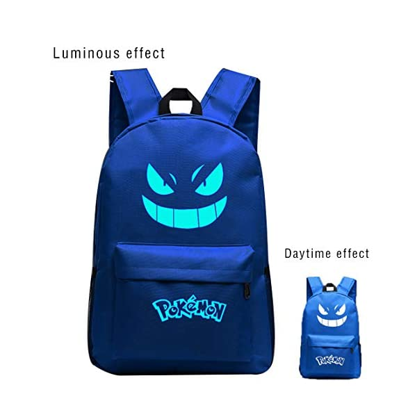 Pokemon Mochila con ojos luminosos, bolsa de Pokémon para niños y niñas, mochila escolar Pokémon, mochila de viaje