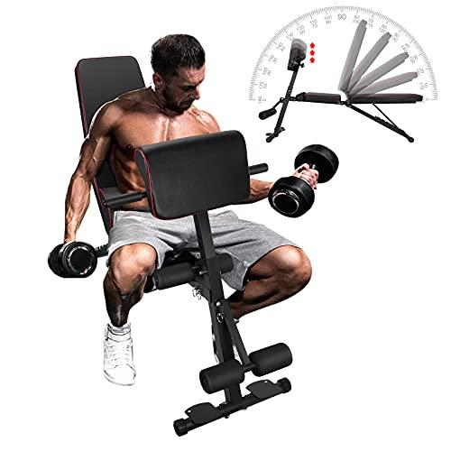 Banco Musculacion Plegable LaSoGi 6 Niveles Ajustable Multifunción Abdominales Ejercicio Mancuerna Banco de Fitness Capacidad Peso 330 pounds para entrenamiento cuerpo completo y gimnasio en casa