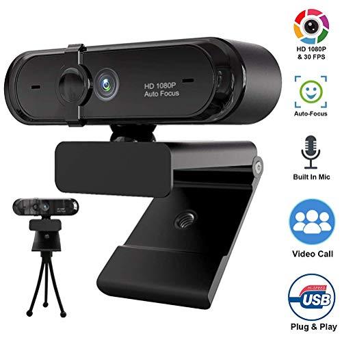 HD Webcam, 1080P HD USB PC Webcam Web Cam Camera,Autofokus Horizontal 180 ° Drehen USB 2.0 Webkamera Mit Digital Mikrofon Für PC Laptops Desktop Videotelefonie