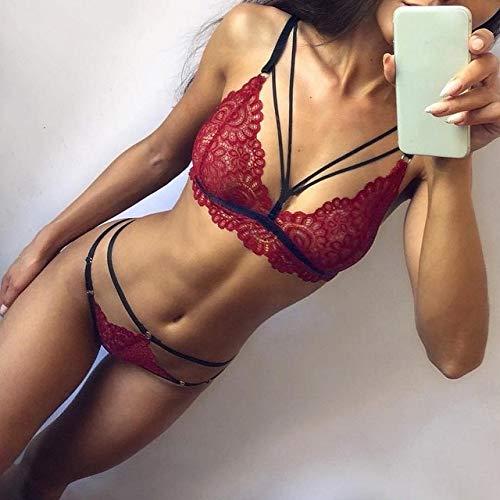 Conjunto de Sujetador Sujetador Sexy de Moda Ropa Interior de Encaje de poliéster Vendaje Bragas Cubierta de Vendaje Babydoll Conjunto de Sujetador Sexy - Vino, S